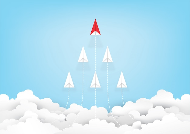 Origami red paper plane leadership on blue sky