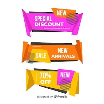 Origami sale banner collectio