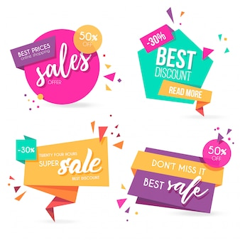 Origami sale banner collection with modern colors