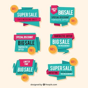 Etichetta di vendita di origami / collezione di badge