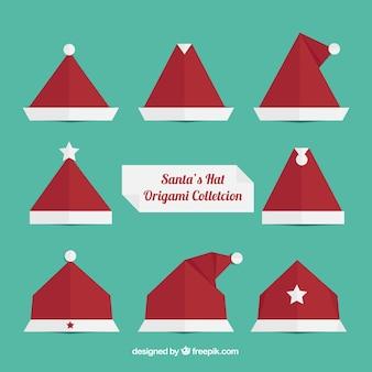 折り紙サンタクロースの帽子