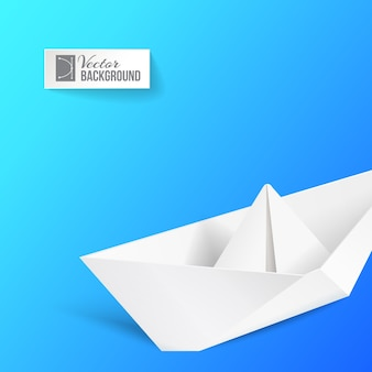 Origami ship over blue.