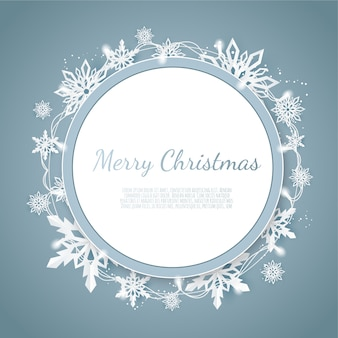 Origami snowfall, merry christmas greetings card, white paper cut snow flake,