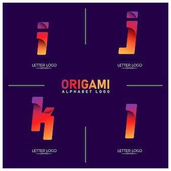 Origami style curvy gradient ijkl letter logos