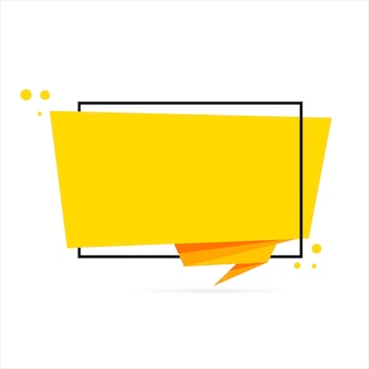 Origami style speech bubble banner. blank for your text. sticker design template.