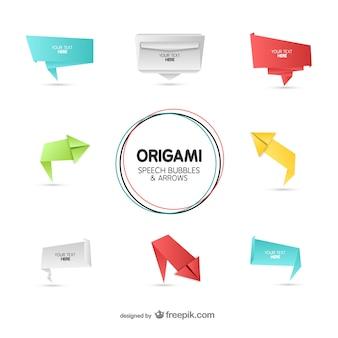 Stile origami bolle di discorso e frecce set