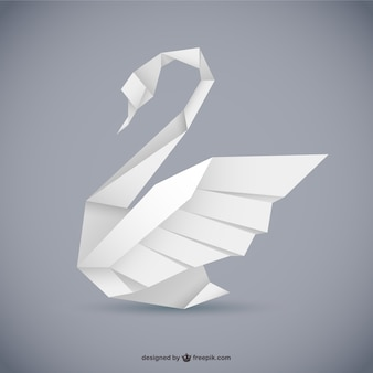 Origami style swan vector