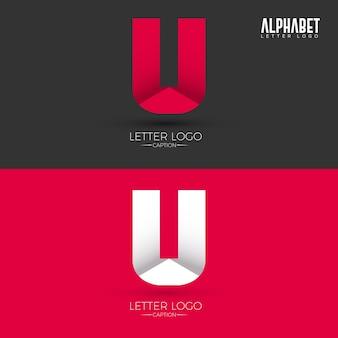 Origami style u letter logo