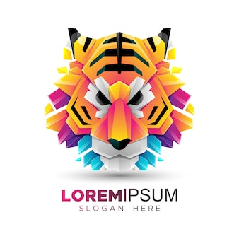 Origami tiger head logo template
