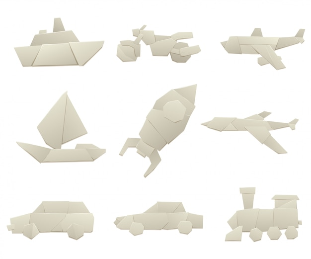 Origami transport collection original flat  illustration.