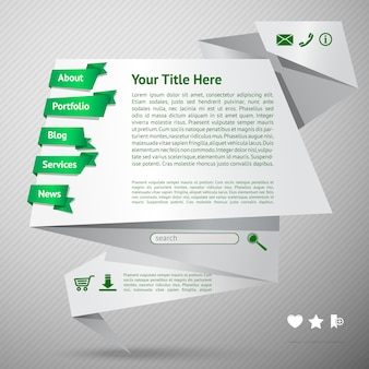 Origami website template. landing page