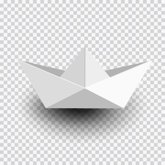 Origami white paper ship,boat isolated on transparent