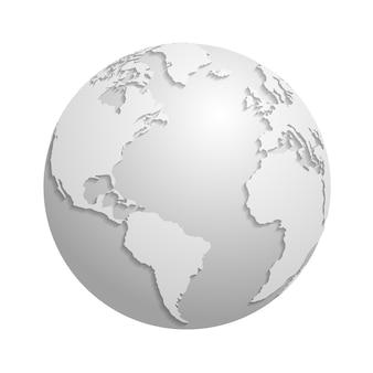 Origami white paper world globe. 3d vector illustration global earth map, origami planet sphere