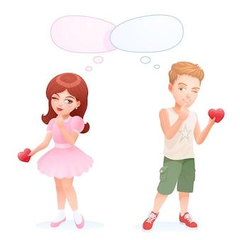 愛の起源。バレンタインデーのロマンチックなカップル。かわいいキャラクター。女の子と男の子は少し恥ずかしがり屋ですが、お互いにバレンタインを提示する準備ができています。ティーンエイジャーのデート。空の吹き出し。