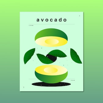 Original and abstract illustration of an avocado