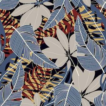Original abstract seamless pattern with colorful tropical leaves and plants on black background