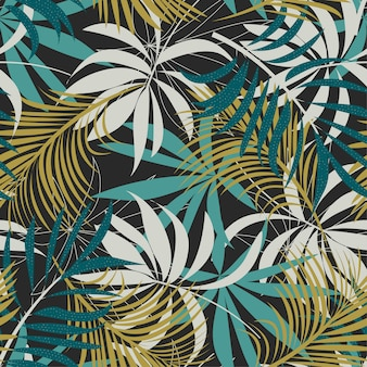Original abstract seamless pattern with colorful tropical leaves and plants on brown