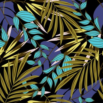 Original abstract seamless pattern with colorful tropical leaves and plants on dark