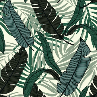 Original abstract seamless pattern with colorful tropical leaves and plants on light