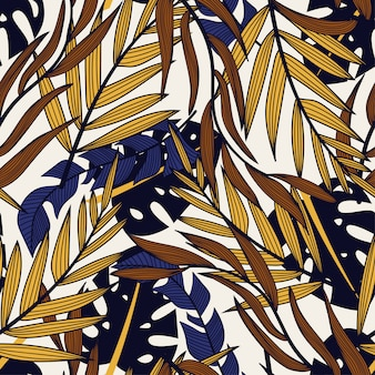 Original abstract seamless pattern with colorful tropical leaves and plants on white