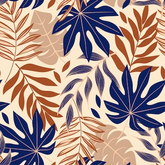 Original abstract seamless pattern with tropical leaves