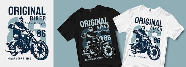オリジナルバイカービンテージバイクtシャツデザイン
