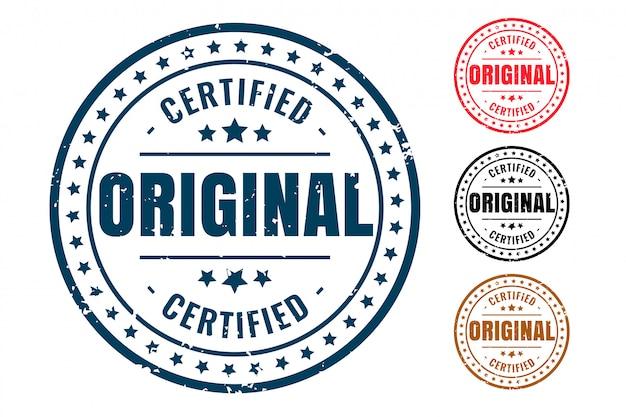 Timbro di gomma originale certificato prodotto set di quattro