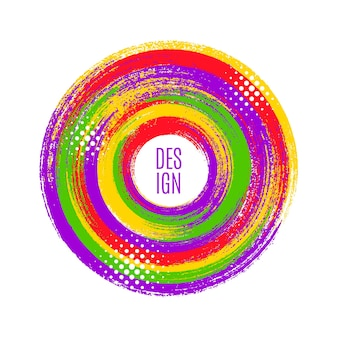 Оригинальная круглая эмблема кистью, красочный фон. векторная иллюстрация