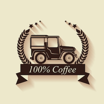 Original coffee label with transport