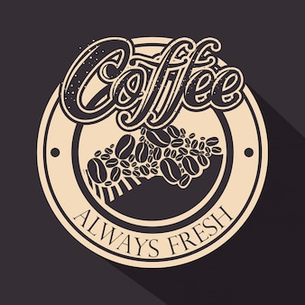 Original coffee stamp with coffee beans