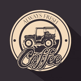 Original coffee stamp with transport Free Vector