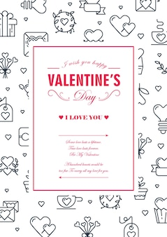 Original colored square frame card with many small hearts, envelopes and others symbols around the text vector illustration