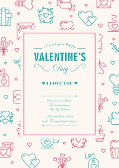 Original colorful  frame card with many small hearts, gifts and others symbols around the text illustration