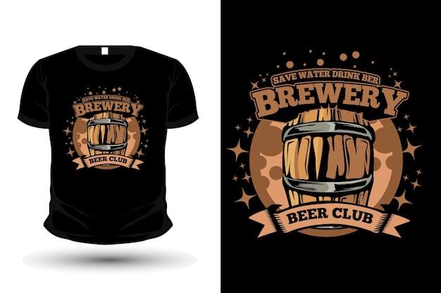 원래 공예 맥주 양조장 그림 티셔츠 모형 디자인