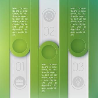 Modello di design originale per infografica aziendale con tre elementi verticali per informazioni di testo piatte