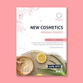 Original essence natural cosmetics flyer template