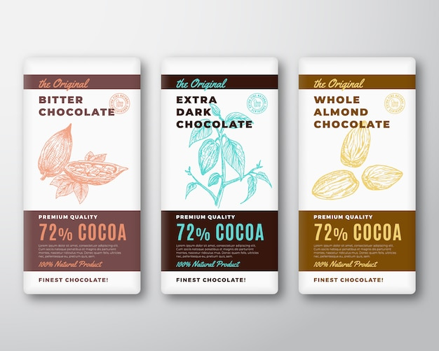 The original finest chocolate abstract packaging design label. modern typography and hand drawn cocoa branch with leaves and bean and almond nuts sketch silhouette background layout.
