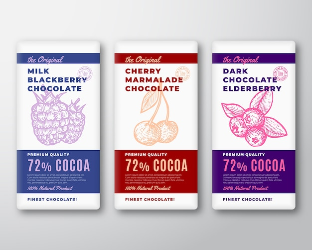 The original finest chocolate abstract  packaging  labels set.
