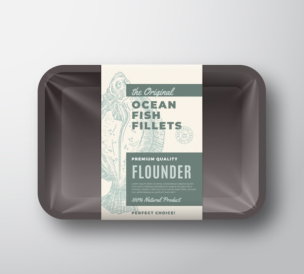 The original fish fillets abstract packaging design label on plastic tray with cellophane cover. modern typography and hand drawn flounder flatfish silhouette background layout.