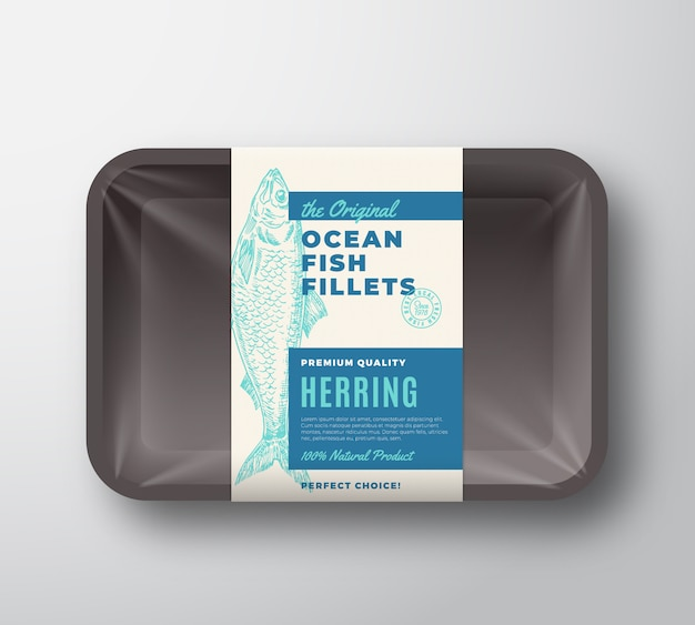 The original fish fillets abstract packaging design label on plastic tray with cellophane cover. modern typography and hand drawn herring silhouette background layout.