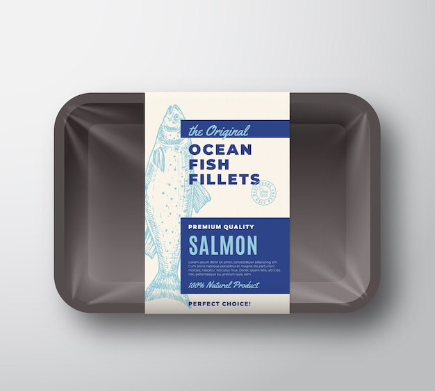 The original fish fillets abstract packaging design label on plastic tray with cellophane cover. modern typography and hand drawn salmon silhouette background layout. isolated.