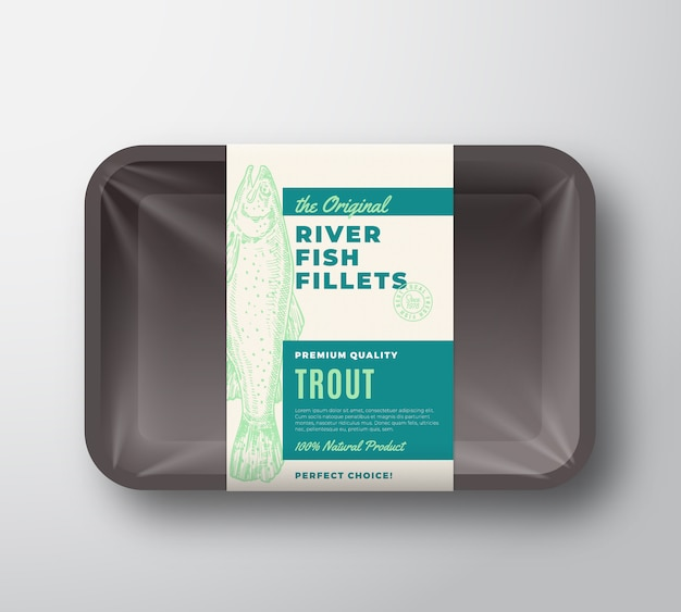 The original fish fillets abstract packaging design label on plastic tray with cellophane cover. modern typography and hand drawn trout silhouette background layout. isolated.