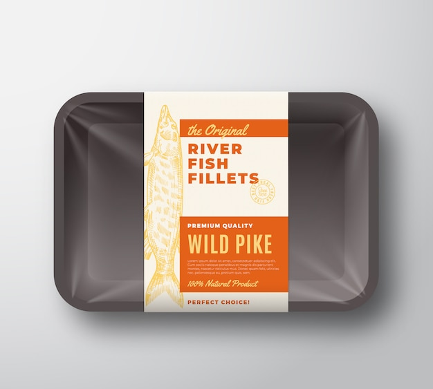 The original fish fillets abstract packaging design label on plastic tray with cellophane cover. modern typography and hand drawn wild pike silhouette background layout. isolated.