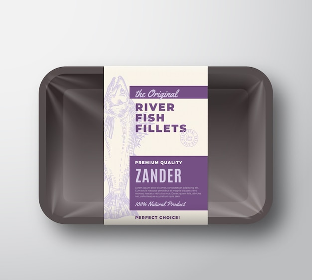 The original fish fillets abstract packaging design label on plastic tray with cellophane cover. modern typography and hand drawn zander pikeperch silhouette background layout.
