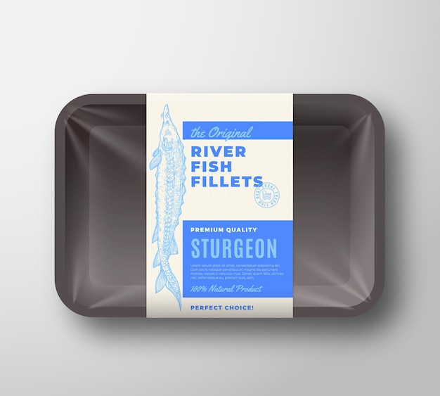 The original fish fillets abstract vector packaging design label on plastic tray with cellophane cover