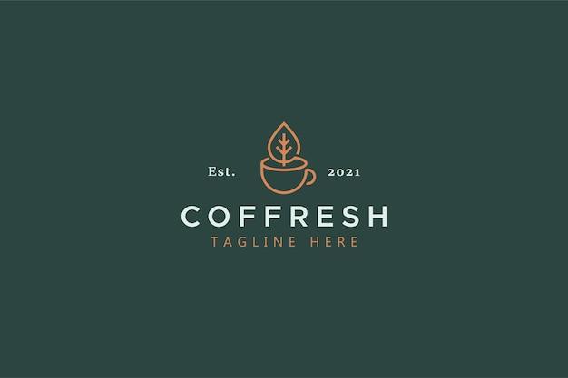 オリジナルの淹れたてのコーヒーと紅茶の伝統的な創造的なアイデアのロゴのコンセプト