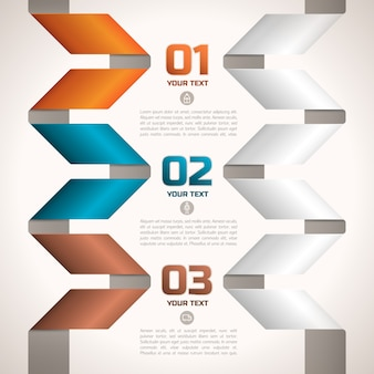 Original geometric twisted paper ribbons infographic