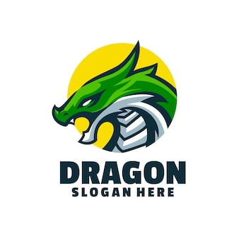 Original green dragon mascot logo character, best for sports team