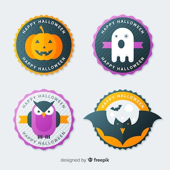 Original halloween label collection with flat design