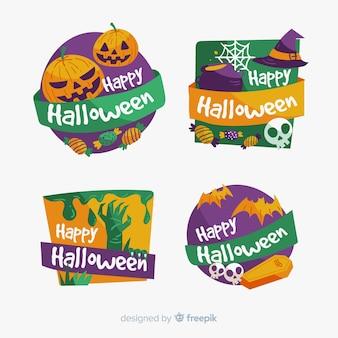 Оригинальная коллекция этикеток хэллоуина с плоским дизайном